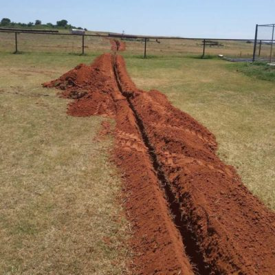 This open trench is for the installation of Fiber Optic cabling and a power wire for our new equipment.